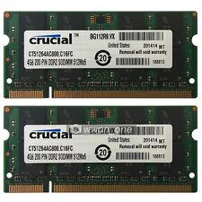 New Crucial 8GB KIT 2x4GB PC2-6400 DDR2 800 MHz 200pin Sodimm Laptop Memory RAM