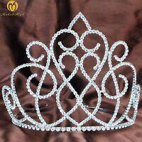 Floral Tiara Diadem Clear Crystal Rhinestone Headband Wedding Pageant Party Prom