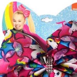 Nickelodeon JoJo Siwa Cheer Bow Magenta Star Unicorn Clear Rhinestones NEW