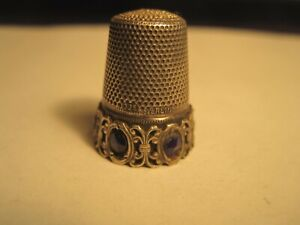 Antique Thimble Unusual Sterling Silver Cobalt Blue Jeweled Band