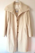 Women's Winter Knit Collar Ivory Button Down Jacket Coat Size US 12 EU 42