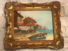 FAB! Vintage Oil Painting on Artist Board Seaside Signed Wood Gesso Frame