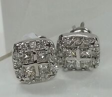 14k white gold diamond earrings . 0.80cttw G vs2 princess & rd. Unique style