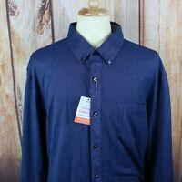 Van Heusen Men's Button Down Shirt Sz 2XL Navy Blue Long Sleeve Traveler NEW NWT