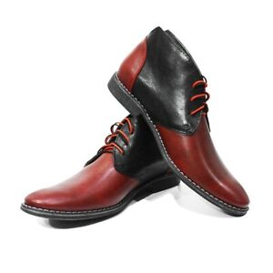 Modello Pacomio - Handmade Italian Red  Ankle Chukka Boots - Cowhide Smooth Leat