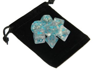 New 7 Piece Polyhedral Winter Walker Sparkle Dice Set With Dice Bag D&D RPG