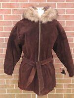 Women's WILSONS ADVENTURE BOUND Suede Leather Coat Belted Jacket w/ Hood S New