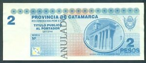 Catamarca Argentina Emergency Bond Trial Essay not issued Banknote 1990s