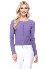 YEMAK Women's Long Sleeve Crewneck Cropped Button-Down Cardigan Sweater MK5502