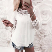 Fashion Women's  Chiffon Lace Splicing Tops O-neck Long Sleeve Shirt Blouse