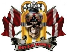 DIVER DOWN SCUBA DIVE SKULL STICKER / DECAL