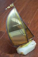 Vintage Mid-Century Modern Brass Sailboat Yacht Sculpture Signed DeMott