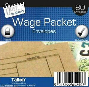 140 Quality Wage Slip Packet/Dinner Money Envelopes Brown Manilla Self Seal