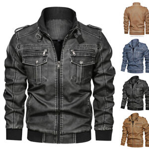 Retro Men's Faux Leather Biker Motorcycle Jacket Stand Collar Outwear Slim Fit D