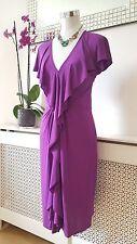 Coast @ Debenhams Fuchsia Purple Jersey Ruffled Frilly Ladies Dress Size 12