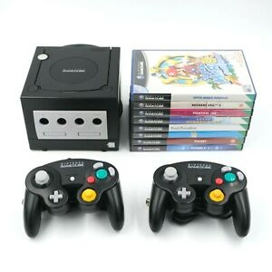 Nintendo Gamecube Black Console & 2 Controllers & Games Including Mario Sunshine
