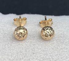 d03ff5326 18k Solid Yellow Gold Round Balls 6mm Stud Earrings, Diamond Cut 1.05 Grams
