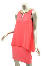 LAUNDRY BY SHELLI SEGAL Coral Calypso Overlay Dress 8 $245