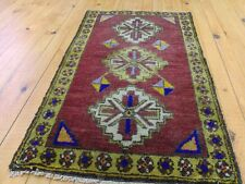 """Antique 1900-1939s Natural Dyes 1'8""""x3' Wool Pile Tribal Rug"""