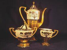 Pickard Aura Argenta Linear Artist Signed- Chocolate Pot Set w/ Cream & Sugar