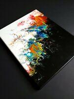 "ACRYLIC PAINTING ORIGINAL ARTWORK 11"" x 14"" CANVAS ABSTRACT ART WALL DECOR"