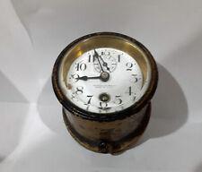 Antique Brass Boat Ship Clock Key Wind Jeweled Movement