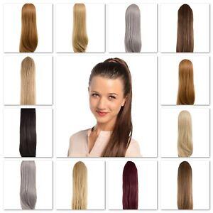 Straight 24″ Ponytail Hair Extension Drawstring & Clip In Various Natural Koko