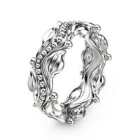 Women Men 925 Silver Fashion Wedding Engagement Party Band Ring Gift Size 6-10