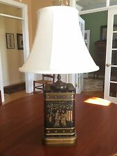 Vintage Frederick Cooper Chinese Chinoiserie Tin Tea Canister Lamp