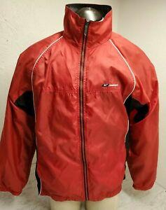 Vintage Reebok Full Zip Lined  Windbreaker Red Black Pockets Mens Size L