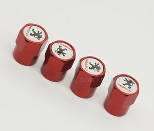4x Red Car motorcycle Wheel Cover Tire Valve Caps Logo Accessories for Peugeot