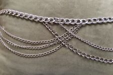 Multi-Draped Chains Silver Belt with extension chain