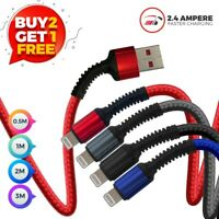 USB Charger & Data Sync Cable Lead For Apple iPhone 5 5s 5c 6 7 8 X 11 12 XR