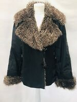 Padded Flying Aviator Biker Jacket 16 Pockets, Faux Fur Collar & Cuffs Ex. Cond