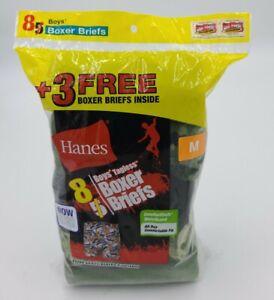 Hanes Boys Comfortsoft Tagless Boxer Briefs 8 Pair Assorted styles Sz. M (10-12)