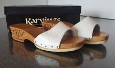 Karvings Women's White Size 5 leather Hand Carved Wood Heels Clog Sandal