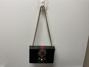 Black Leather Gucci Purse Crossbody Strawberry 432280 Chain Messenger Bag $2390