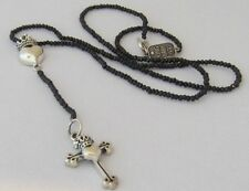 KING QUEEN BABY Silver Crowned Heart Black Agate Rosary Necklace New $860