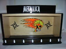 Metallica Bobble Head Display Case with Flaming Skull & Flying stars Handcrafted