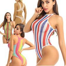 Womens See Through Bodysuit Rainbow Bikini Bathing Monokini Mesh Thong Swimwear