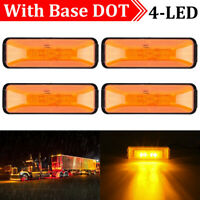 4x Waterproof 4 LED Amber Side Marker Light Lamp Car Truck Trailer Indicator 12V