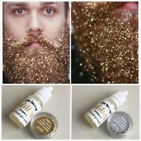 Beard Glitter Kit 2 COLOUR SET Gold & Silver Secret Santa Party Fancy Dress Oil