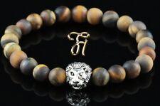 oeil de Tigre Brun Mat - Argenté Tête lion - Bracelet perles