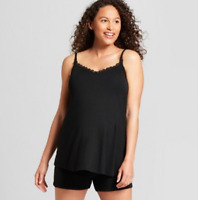 Maternity Nursing Sleepwear Cami-Ingrid & Isabel- Black-XL-M305