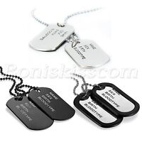 Men's Army Style 2pcs Dog Tags Address Engraved Pendant Necklace With Bead Chain