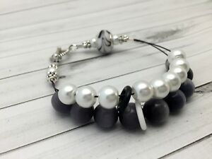 Black and White Abacus Counting Bracelet, Knitting Row Counter, Handmade