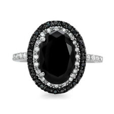 Fashion Oval Cut 2.35ct Black Sapphire 925 Silver New Wedding Ring Size 6