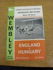 05/05/1965 England v Hungary [At Wembley] (pin hole top left corner, slight rust