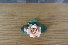Elegant Capodimonte (Capo-di-Monte) Porcelain Pink Flower with Bud (Rose)