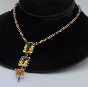 Heavy 14K WG 150.80CTW diamond sapphire & 21.5 X 15.5mm citrine pendant necklace